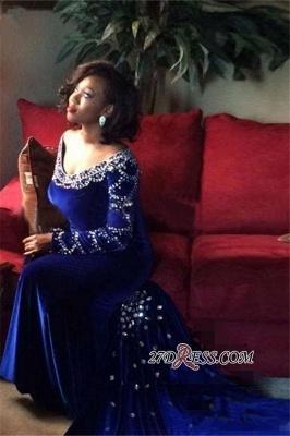 Velevt Mermaid V-Neck Long-Sleeves Elegant Royal-Blue Crystal Prom Dress UK_3