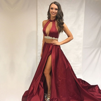 Burgundy two-pieces prom Dress UK, long evening Dress UK with slit_3