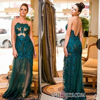 Sexy Floo-length Dark-Green Sleeveless Scoop Evening Gown_1