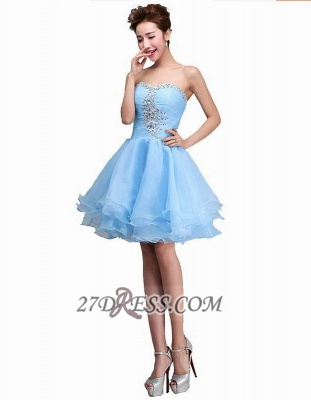 Sexy Semi-sweetheart Sleeveless Short Cocktail Dress UK Beadings Crystals Lace-up Ruffles Homecoming Gown_3