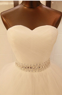 Elegant Sweetheart Sleeveless Ball Gown Wedding Dress With Tulle Lace Beadss_3