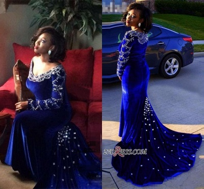 Velevt Mermaid V-Neck Long-Sleeves Elegant Royal-Blue Crystal Prom Dress UK_1