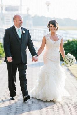 Newest Lace Ruffles Tulle Sexy Mermaid Wedding Dress Cap Sleeve_1