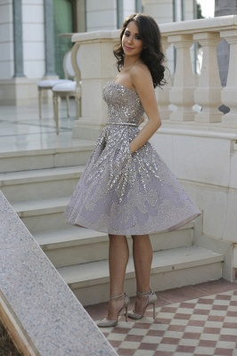 Luxury Strapless Sequins Appliques Short Homecoming Dress UK MH_2