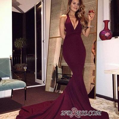 Sweep-Train V-neck Burgundy Elegant Mermaid Sleeveless Prom Dress UK sp0259_2