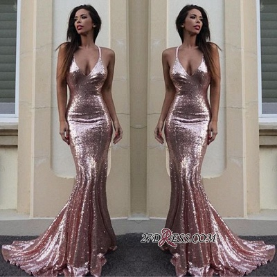 Mermaid Sequins V-Neck Luxury Prom Dress UK_2