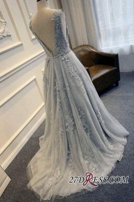 Long A-line Lace-Appliques Backless Sleeveless Prom Dress UKes UK BA5343_1