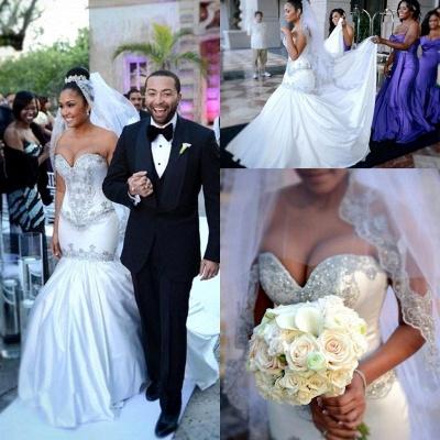 New Arrival Sweetheart Sexy Mermaid Wedding Dresses UK Crystal On Sale_3