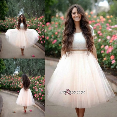 Lace Two-Pieces Tulle Cheap A-line Short-Sleeves Homecoming Dress_3