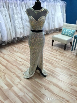 Gorgeous Cap Sleeve Sequins Prom Dress UKes UK Two Pieces Slit Beadings_4