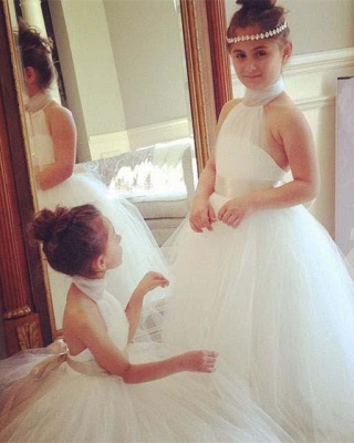 Romantic High Neck White Tulle Flower Girl Dress Bowknot Sweep Train