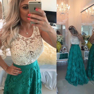 Gorgeous Sleeveless Lace Pearls Prom Dress UKes UK Long Party Gowns BT0_6