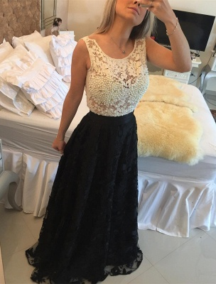 Gorgeous Sleeveless Lace Pearls Prom Dress UKes UK Long Party Gowns BT0_1
