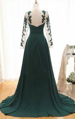 Sexy Long Sleeve Dark Green Evening Dress UK Chiffon Long With Appliques_2