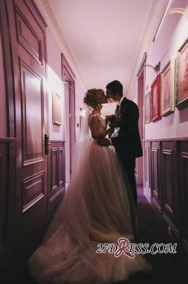 Tulle Lace Floor-Length Gorgeous Princess Cap-Sleeve Appliques Wedding Dress_5