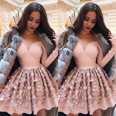Luxury Long Sleeve Pink Homecoming Dress UK | 2019 Short Party Dress UK Online_3