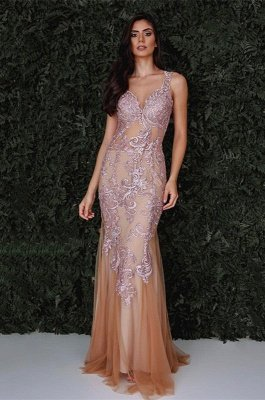 Luxury Sleeveless Mermaid Evening Dress UK With Lace Designer Tulle Party Gowns_1