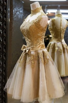 Luxury High Neck Sleeveless Golden Appliques Tulle Short Prom Dress UK_3