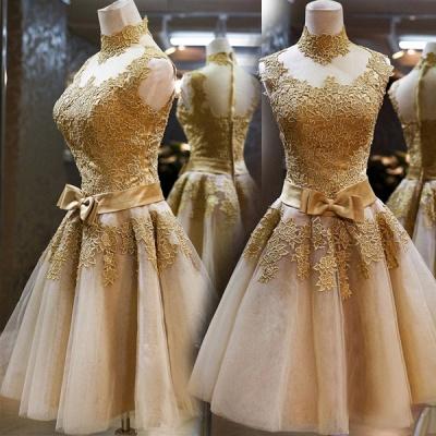Luxury High Neck Sleeveless Golden Appliques Tulle Short Prom Dress UK_4