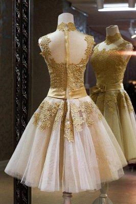 Luxury High Neck Sleeveless Golden Appliques Tulle Short Prom Dress UK_2