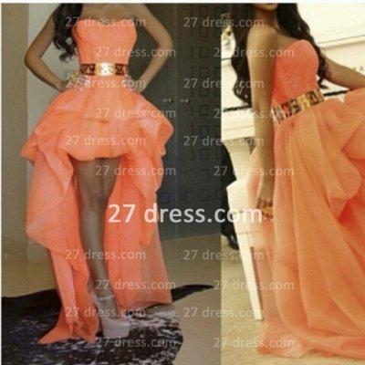 Elegant A-line Long Prom Dress UKes UK Sweetheart Asymmetrical Gold Sash Girls Hi-lo Evening gown_2