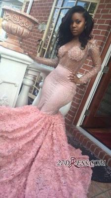 Beadings Sexy Appliques Mermaid Pink Sleeves Long Prom Dress UK BA4595 BK0_2