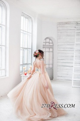 Tulle Sweetheart Lace Fairy Appliques Spaghetti-Strap Long Wedding Dress_3
