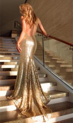 Open Back Sexy Formal Evening Dresses Cheap| Mermaid Sequins Prom Dress UK BA3586_4