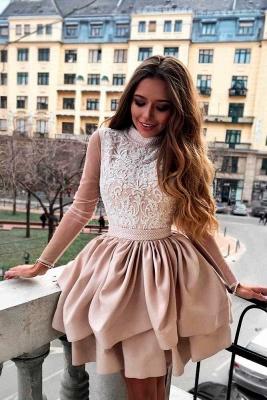 Luxury Hi-Neck Long Sleeve 2019 Homecoming Dress UK | Mini Lace Party Dress UK_1