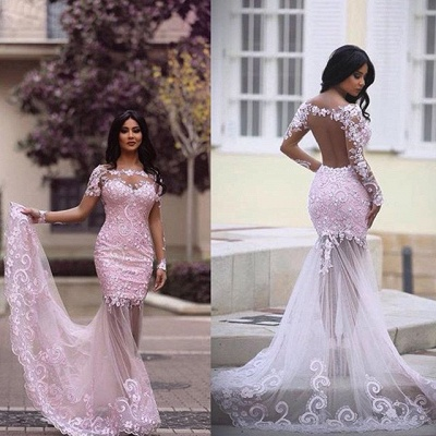 Luxury Long Sleeve Lace Appliques Evening Dress UK Mermaid Sheer Skirt Prom Gown_3