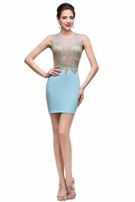 Sexy Sleeveless Short Homecoming Dress UK With Golden Appliques_2