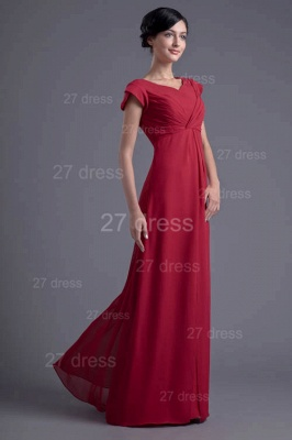 Sexy Cap Sleeve Chiffon Evening Dress UK A-line Floor-length_4