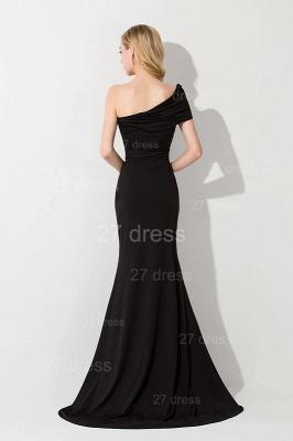 Modern One Shoulder Black Evening Dress UK Sweep Train_2