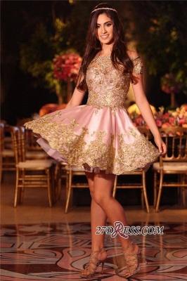 Gold Lovely Appliques Short Lace Pink Off-The-Shoulder Homecoming Dress UK BA6543_4