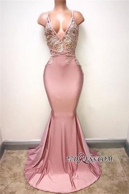 Elegant Sleeveless Lace-Appliques Mermaid Spaghettis-Strap Evening Gowns BA7166_1