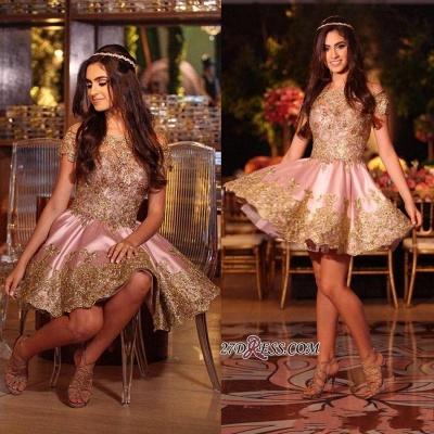 Gold Lovely Appliques Short Lace Pink Off-The-Shoulder Homecoming Dress UK BA6543_2