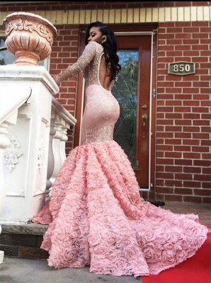Beadings Sexy Appliques Mermaid Pink Sleeves Long Prom Dress UK BA4595 BK0_4
