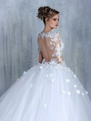 Elegant Long Sleeve White Wedding Dress tulle Ball Gown Appliques_3