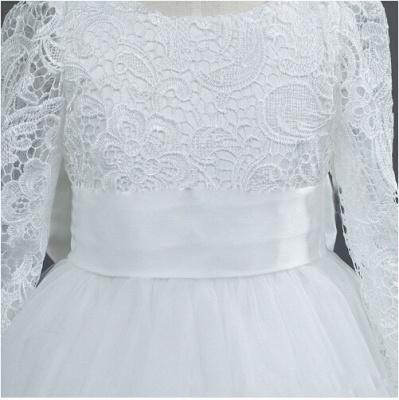 Lovely Tulle Lace Flower Girl Dress Bowknot Long Sleeve Zipper_2