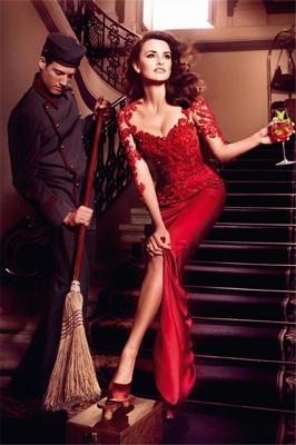 Hot Sale Red Lace Chiffon Evening Party Dress UKes UK Short Sleeve Prom Dress UKes UK on sale_1