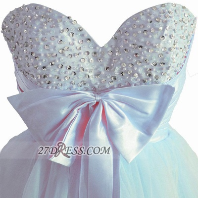 Lovely Sweetheart Sleeveless Short Homecoming Dress UK Beadings Pearls Bowknot Lace-up Cocktail Gown_3