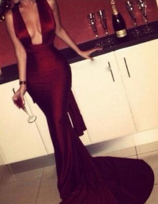 Elegant Sleeveless Mermaid Burgundy Prom Dress UK Sweep Train_3