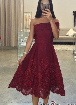 Asymmetric Tea-Length Burgundy Off-the-Shoulder Prom Dress UKes UK LY158_3
