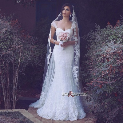 Straps Appliques Elegant Tulle Sweetheart Sexy Mermaid Wedding Dresses UK_1