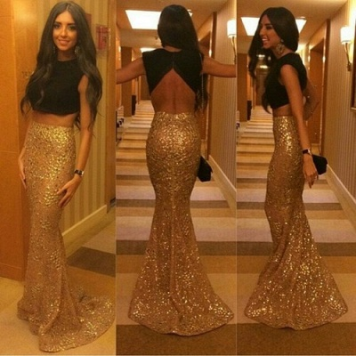 Luxury Mermaid Separate Evening Dress UKes UK Jewel Sweep Train Sequined Prom Gowns_2
