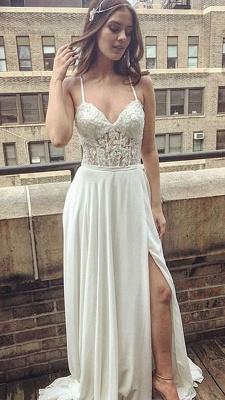 Sexy Spaghetti Straps Lace Prom Dress UK Chiffon Long With Split_1
