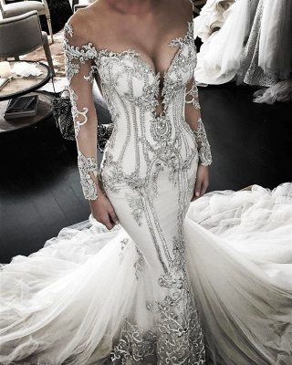Delicate Lace Appliques Long Sleeve Wedding Dress | Sexy Mermaid Bridal Gown_1