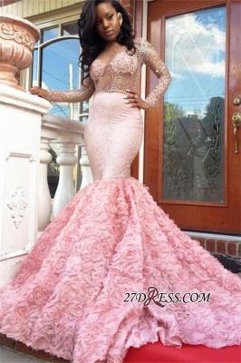 Beadings Sexy Appliques Mermaid Pink Sleeves Long Prom Dress UK BA4595 BK0_3