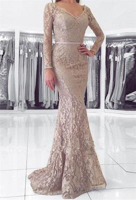 Sexy Long Sleeve V-Neck Lace Evening Dress UK Mermaid Online_1