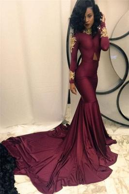 Appliques High-Neck Mermaid Burgundy Long-Sleeves Prom Dress UKes UK qq0103 BK0_1